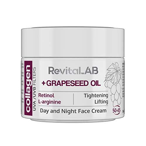 RevitaLAB - Crema giorno e notte idratante antietà con collagene, arricchita con acido ialuronico, L-Arginina, retinolo, olio di vinaccioli e filtro UVA/UVB, 50-65 anni, 50 ml
