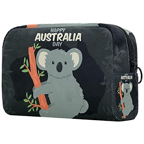 Beauty Case da Viaggio Borsa da Viaggio Carino Koala Australia Day Morbido al tatto Cosmetici Toiletry Bag Sacchetti di Trucco per Uomini e Donne 18.5x7.5x13cm