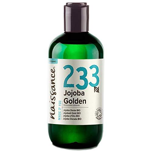 Naissance olio di Jojoba d'Oro Certificato Biologico 250ml - puro al 100%, Pressato a Freddo, Vegan, Cruelty Free, senza OGM, per l'idratazione della pelle e dei capelli