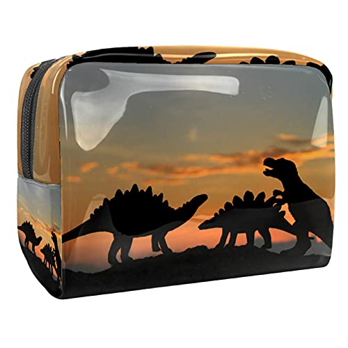 Cosmetic Bag for Women Dusk Dinosaur Adorable Roomy Makeup Bags Travel Waterproof Toiletry Bag Accessories Organizer 7.3x3x5.1 Inch