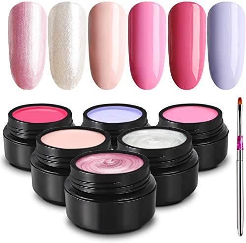TOMICCA Gel Smalto per unghie Set 5ml UV LED Glitter Gel Polish Kit 6 colori Argento Oro Rosa Soak Off Gel Glitter Nail Polish