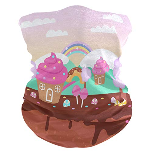 Sawhonn Torta al Cioccolato Rosa Bandana Maschera Viso Multiuso Passamontagna Magica Sciarpa Balaclava Headwraps Copricapo per Esterni Donne Uomini