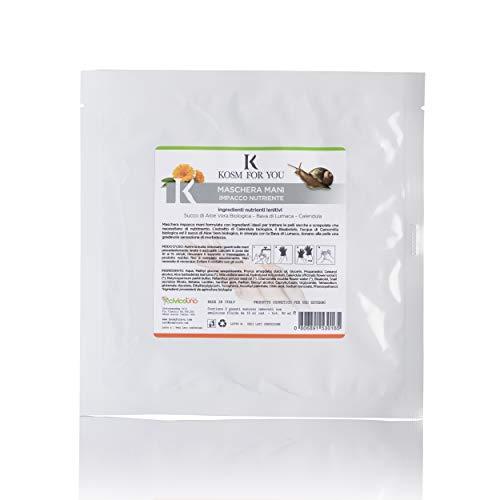Kosmforyou 3 Paia di Guanti Maschera Mani Impacco Nutriente e Lenitivo per Pelle Secca e Screpolata con Aloe Vera Biologica, Bava di Lumaca e Calendula. Ingredienti BIO.