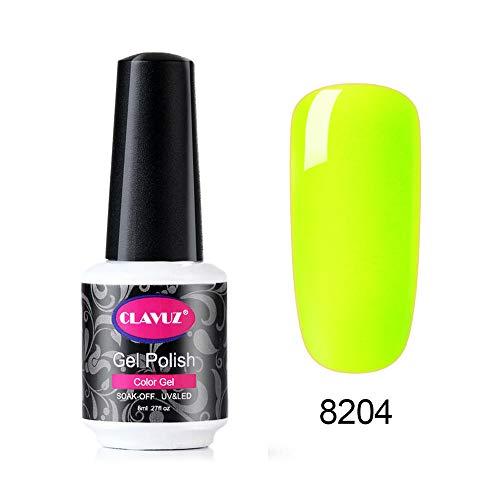 CLAVUZ Smalto per Unghie in Caramella Fluorescente Neon Luminoso Nail Soak off UV LED Romantico Gel Semipermanente per Unghie Manicure 8ML YGJ-8204