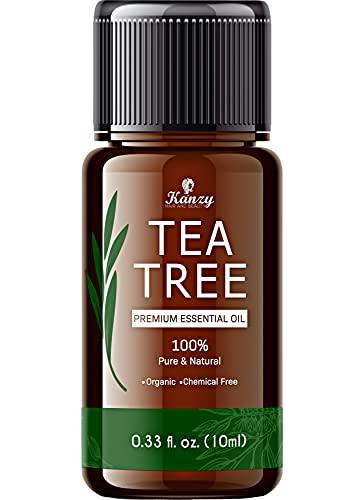 Kanzy Tea Tree Oil Puro 100%, Olio di Albero Del Tè 10ml per Viso, Corpo, Unghie, Capelli e Aromaterapia Diffusore, Tee Tree Olio Essenziale Puro