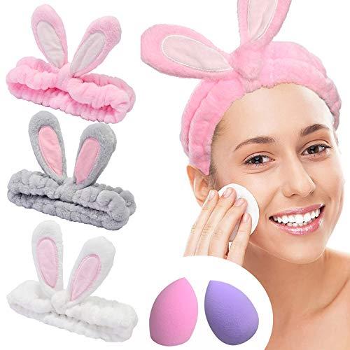 YMHPRIDE Cerchietto Spa - 3 pezzi fascia di coniglio per ragazze donne fascia elastica bella morbida Carol con set frullatore spugna trucco, Fascia per capelli con fascia per il trucco