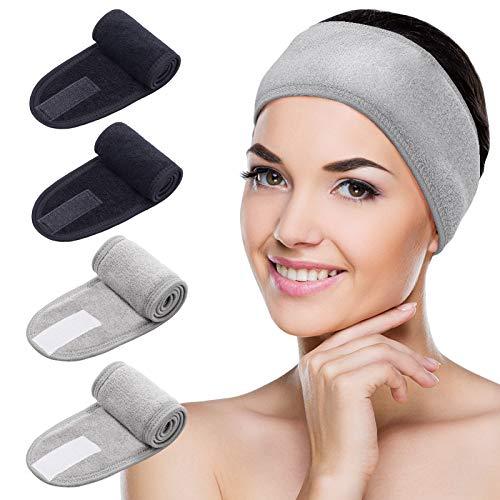 MELLIEX 4 Pezzi Fascia per Capelli Donna Trucco Regolabile Fasce Spugna Cerchietto Accessori per Capelli per Skincare Spa Yoga Doccia