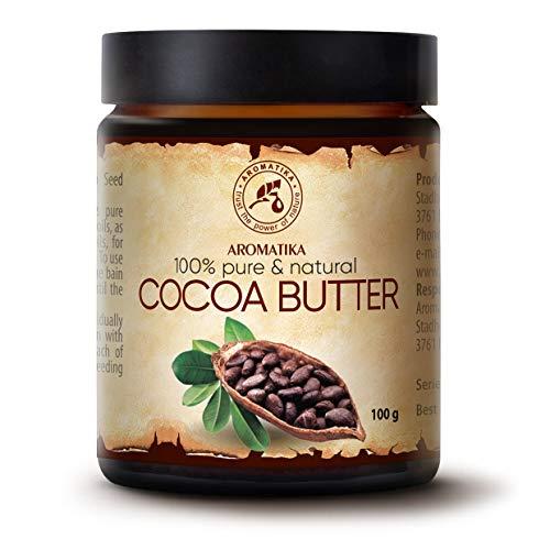 Burro di Cacao 100g - Theobroma Cacao (Cocoa) Seed Butter - Burkina Faso - Burro di Cacao non Raffinato e Puro al 100% - Idratante e Protettivo - Cura di Capelli e Corpo - Antirughe - Smagliature