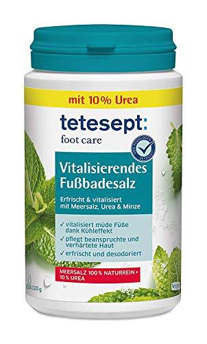 tetesept foot care - Sale da bagno vitalizzante per pediluvi, con sale marino, 10% urea e oli essenziali, il sale dei piedi rivitalizza i piedi stanchi, 1 x 320 g