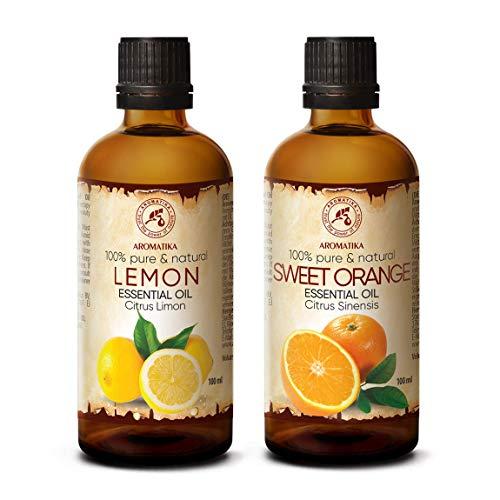 Set di Oli Essenziali - Olio di Limone 100 ml & Olio di Arancio 100 ml - 100% Puro - Perfetto per Diffusori, Umidificatori - Aromaterapia - Cura del Corpo - AntiCellulite - Buonumore - Massaggi