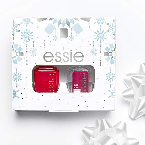 Essie Cofanetto Idea Regalo Donna, Kit Manicure dal Risultato Professionale, Colore Effetto Semipermanente e Top Coat, Russian Roulette e Good to Go