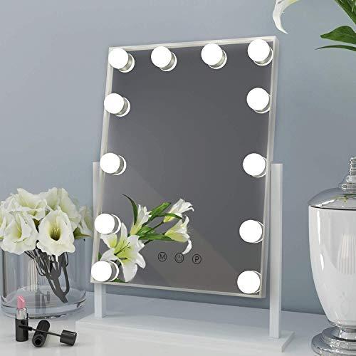 ANGNYA Hollywood, specchio cosmetico illuminato con 12 luci LED dimmerabili, controllo touch, girevole a 360°, stile Hollywood (bianco), regalo per donne