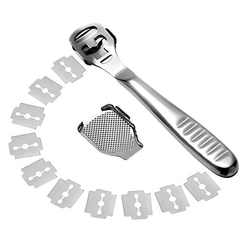 Togli Calli Piedi in Acciaio Inossidabile Sgorbia per Pedicure Rimuovi Calli Tagliacalli Piedi Professionale Taglia Calli e Duroni Professionale 10 Lame Sostituibili