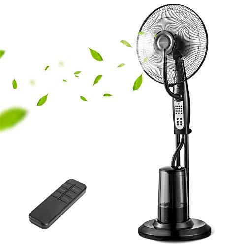 Aigostar Breeze ventilatore con nebulizzatore, ventilatore a piantana potente, 3 modalità 3 velocità, timer 7,5 h, telecomando, spruzzo, aspetto adorabile con un design esclusivo.
