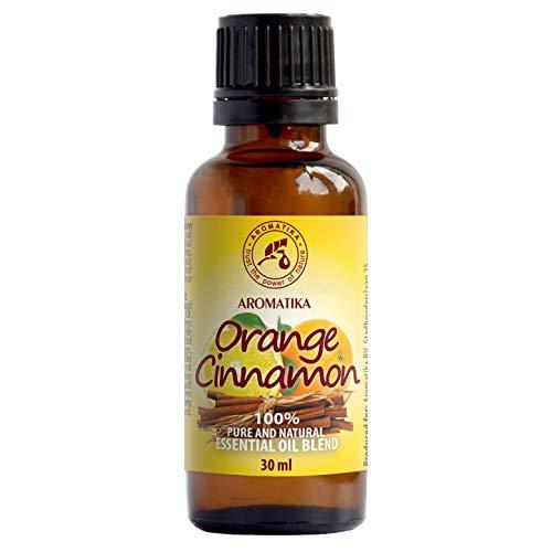 Miscela di oli Essenziali 30ml - Olio di Cannella - Olio di Arancia - Ideale per Aromaterapia - Bruciatore di Olio - Calmante - Bellezza - Rilassamento - Bottiglia di vetro