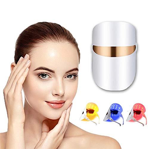 Maschera facciale con luce LED a 3 colori, per terapia fotografica, maschera facciale, maschera spettrale per ringiovanimento della pelle, antirughe, sbiancante, acne, per la pulizia del viso