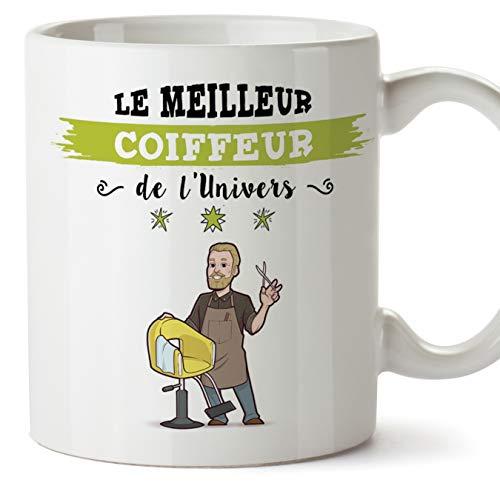 Mugffins (Tazza in Francese) Parrucchiere Tazze Originali di caffè e Colazione per Dare Lavoratori Professionisti - Questa Tazza appartiene al miglior Parrucchiere dell'universo - Ceramica 350 ml
