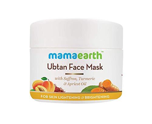 Mamaearth Ubtan impacco Maschera per Equità, abbronzatura e la pelle luminosa con lo zafferano, curcuma e olio di albicocca, 100 ml