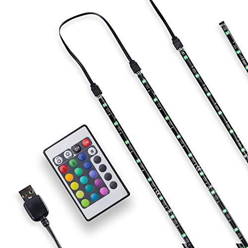 B.K.Licht TV LED illuminazione, Striscia LED RGB, LED Stripe, striscia luminosa dimmerabile autoadesiva 2m 48 LED, telecomando cambia colore, alimentazione USB, kit per retroilluminazione TV, 5V, IP20