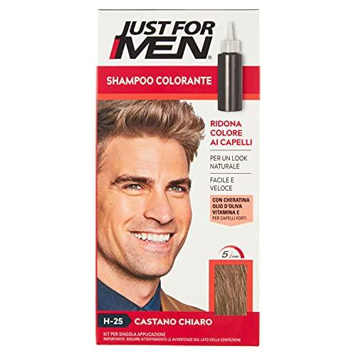 Just for Men Shampoo Colorante, H25 – Castano Chiaro, Shampoo Colorante per Uomo (Nuova Formula)