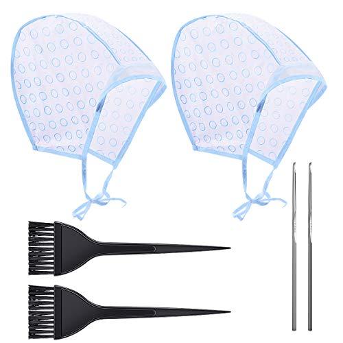 Cuffia Per Capelli Per Meches Colorazione Punte Completa Di Uncinetto Coloring Hair Hook Frosting Cap