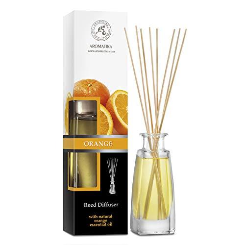 Diffusore Profumato per Arancia 100ml - con 8 Bastoncini di Bambù - con Olio Essenziale - Fragranza Intensa e Duratura - Senza Alcool - Aromatizzatore d'Aria per Interni - di Aromatika