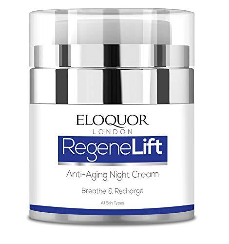 Eloquor RegeneLift crema notte anti invecchiamento. Idratante viso con retinolo, acido ialuronico e vitamine, per rughe, rughe, acne, cicatrici e pelle sensibile. Naturale, organico e senza crudeltà