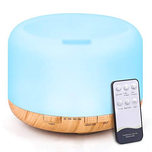 Tenswall - Diffusore di aromi, 500 ml, umidificatore a ultrasuoni, con telecomando, nebulizzatore elettrico, diffusore di oli con 7 colori cangianti e spegnimento automatico senza acqua