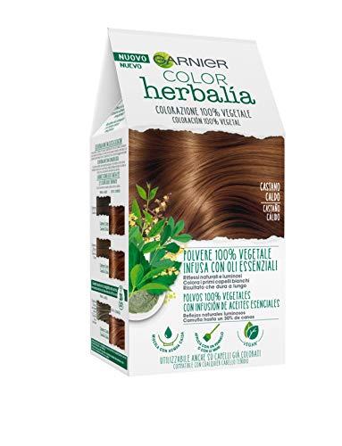Garnier Herbalia Color, Colorazione Permanente per Capelli, 100 % Vegetale con Henné, Indigo e Cassia per Riflessi Naturali e Luminosi, Capelli Rivitalizzati e Densificati, Castano Caldo