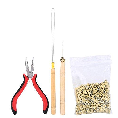Filfeel - Kit di extension per capelli, con pinze, gancio, uncino per anelli, con 500 micro anelli
