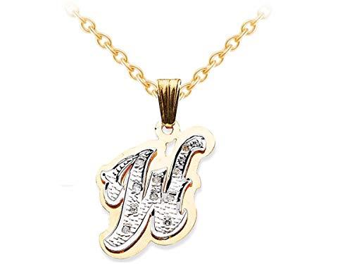 RYLOS - Collane da donna in oro giallo o oro bianco con doppia piastra con diamanti 3D a forma di ombra, per donne e uomini, con catenina da 45,7 cm x 15 mm