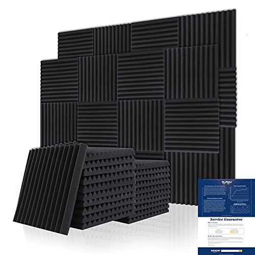 BUBOS Pannelli Fonoassorbenti, 12 Pezzi Pannello Fonoassorbente per Podcasting, Studi di Registrazione, Uffici, Home Learning, Pannello Fonoassorbente(30 * 30 * 2.5 cm)
