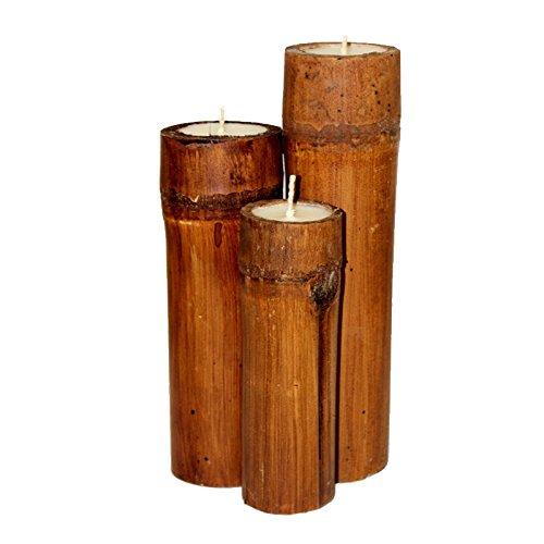 Porta candela set 3 pezzi in bambù naturale marrone. ZEN FENG SHUI CASA ARREDO CANDELE