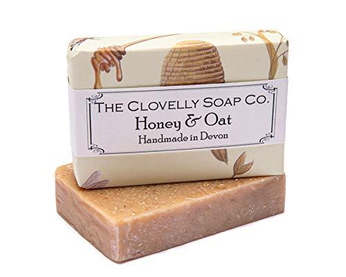 Clovelly Soap Co Saponetta Esfoliante Naturale e Fatta a Mano con Miele e Avena, per Tutti i Tipi di Pelle, 100gr