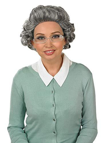Fun Shack Costume Accessorio per Adulti Parrucca da Nonna Signora Anziana con boccoli Grigi con Occhiali