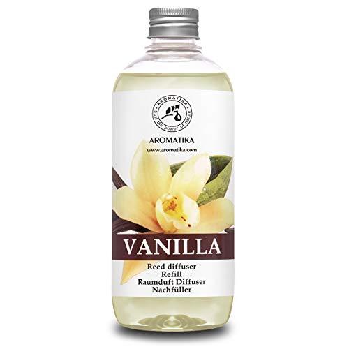 Ricarica Vaniglia 500ml con Naturali Olio Essenziale - Fragranza Intensa e Duratura - Senza Alcool - Diffusore a Lamella - Aromaterapia - Riempi il Tuo Diffusore di Aroma di Vaniglia