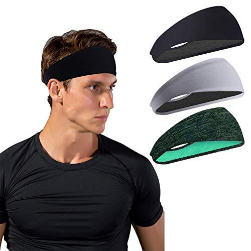 HHOOMY Fasce Sportive per Uomo e Donna (Confezione da 3), Fasce Antisdrucciolo Traspiranti Traspiranti antiumidità per Allenamento, Cross Training, Yoga