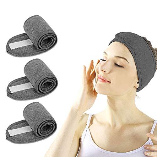 Fascia per viso spa – 3 pezzi per make up Wrap Head doccia sport spugna fascia regolabile con nastro magico (grigio)