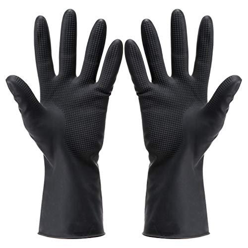 Noverlife 5 paia di guanti per tinture per capelli, guanti in lattice per la colorazione dei capelli riutilizzabili neri, guanti di gomma spessi per la pulizia, cottura, lavastoviglie