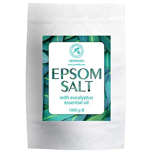 Sale Epsom 1kg con Olio Essenziale di Eucalipto - 100% Sale Epsom - Magnesium Sulphate Crystals & Eucalyptus for Sink Muscles Lenitivo - Cura Della Pelle - Rilassamento Muscolare - Buon Sonno