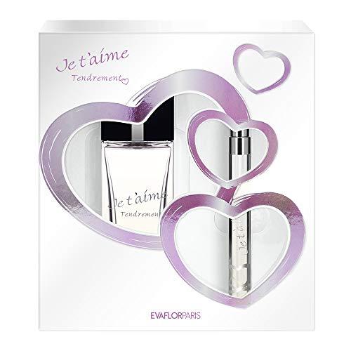 JE T'AIME TENDREMENT • Cofanetto Eau de Parfum 100 ml + nebulizzatore tascabile 12 ml• Profumo donna • Spray • Per lei • Regalo• EVAFLORPARIS