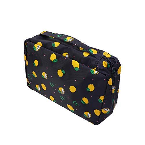 TOPBATHY Durable Waterproof Cosmetics Bag Large Capacity Makeup Bag Multifunctional Portable Hook Toiletries Storage Hanging Pouch (Black Lemon)
