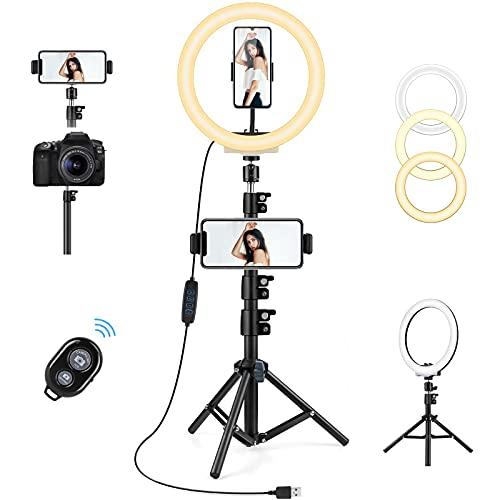 AGPTEK Luce Anello LED 10,2 Pollici Luce per Tik Tok Selfie Ring Light Treppiede 135cm Bluetooth Telecomando Lampada per Fotografica Video Youtube 3 Colori Chiari 10 Livelli di Luminoso Dimmerabile