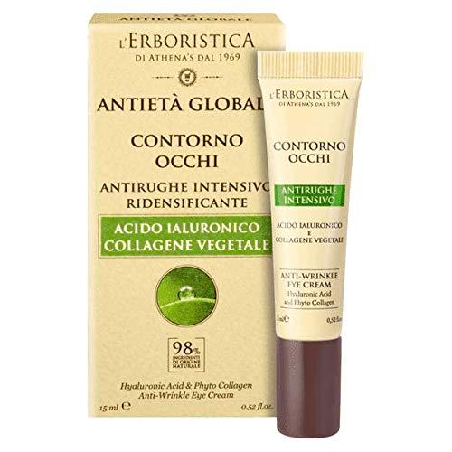 Athena's Erboristica Antietà Globale Contorno Occhi Antirughe 15 Ml. Con Acido Ialuronico e Collagene Vegetale ECO-BIO-VEGAN