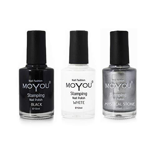 MoYou Nails Bundle of 3 Stamping Nail Polish: Nero, Argento e bianco per ottenere decorazioni belle