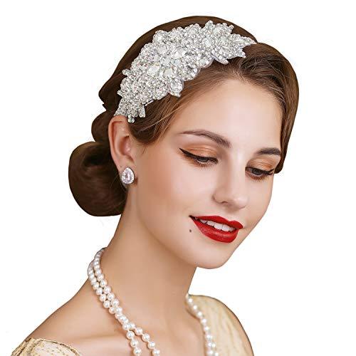 SWEETV - Fascia elastica per capelli in argento anni '20, accessorio per capelli Gatsby da donna