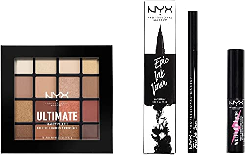 NYX Professional Makeup Kit Look Occhi, Epic Ink Liner, Mascara Worth the Hype, Ultimate Shadow Palette Warm Neutrals, Confezione da 3