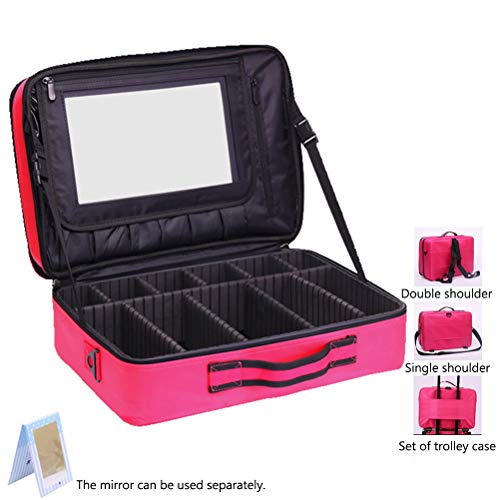 Professional Beauty case da viaggio con specchio grande capacità portatile impermeabile make up organizzatore di viaggio trucco treno caso,rosered