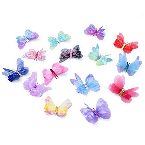 Vathery 15 pz Clip per Capelli a Farfalla con Mollette 3D Glitter Barrette Accessori per Capelli Bambina Ragazze
