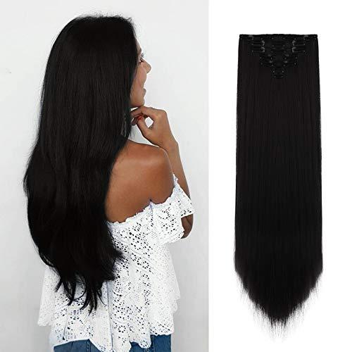 FESHFEN Extension Capelli Clip Lisci, 55 cm Extension con Clip Sintetici Extension Capelli Naturali Lisci Lunga 7 pcs 16 Clips Hair Extension